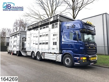 Scania R 620 6x2, EURO 5, Animal transport, 3 layers, Manual, Retarder, Airco, Standairco, Combi - camion bétaillère